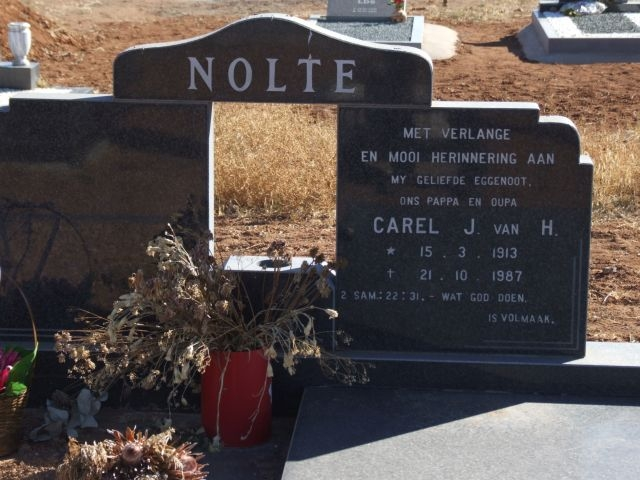 Nolte, Carel J van H born 15 March 1913 died 21 October 1987