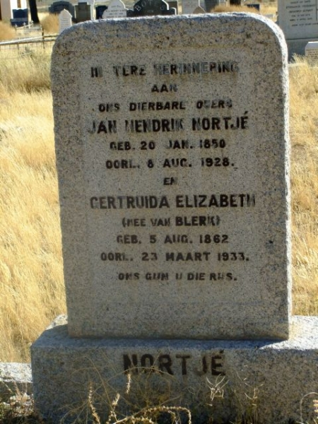 Nortje, Jan Hendrik born 20 January 1850 died 08 August 1929 + Gertruida Elizabeth nee Van Blerk born 05 August 1862 died 23 March 1933