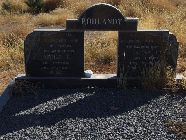 Rholandt, Arthur born 10 January 1890 died 01 March 1960 and Jacoba born 30 August 1908 died illegible