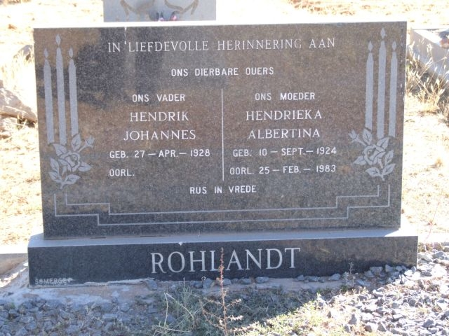 Rholandt, Hendrik Johannes born 27 April 1928 + Andrieka Albertina born 10 September 1924 died 25 February 1983