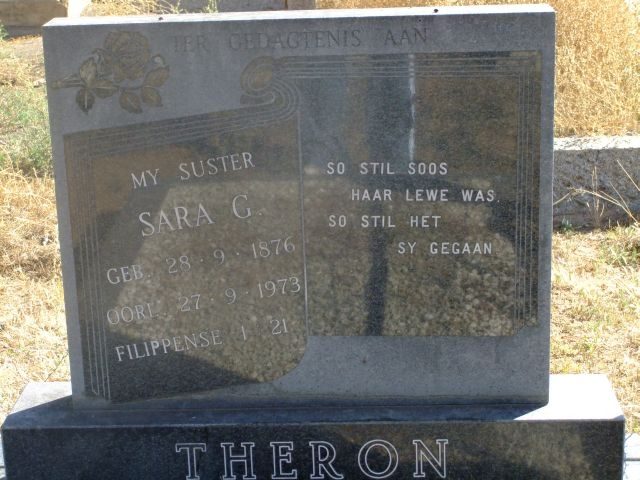 Theron, Sara born 28 September 1876 died 27 September 1973