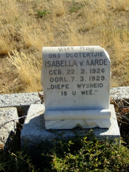 Van Aarde, Isabella born 22 February 1926 died 07 March 1929