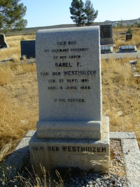 Van Der Westhuizen, Sarel F born 27 September 1891 died 08 June 1946