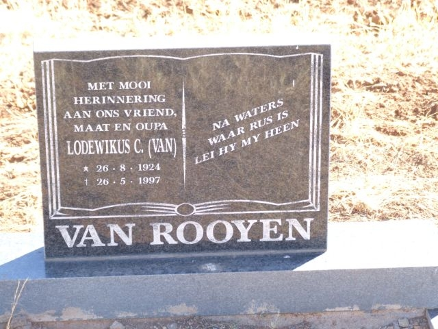 Van Rooyen, Lodewikus born 26 August 1924 died 26 April 1997