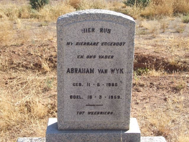 Van Wyk, Abraham born 11 May 1895 died 16 March 1959