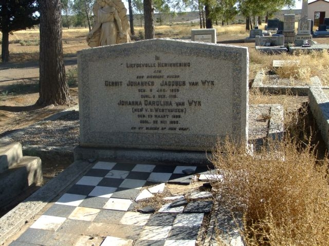 Van Wyk, Gerrit Johannes Jacobus born 03 January 1853 died 03 December 1918 + Johanna Carolina nee Van der Westhuizen born 23 March 1853 died 22 May 1922