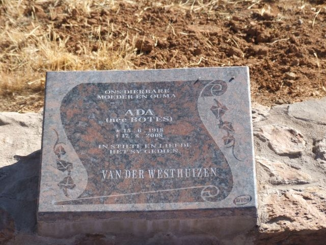 Van der Westhuizen, Ada nee Botes born 15 June 1918 died 17 August 2008