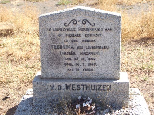 Van der Westhuizen Fredrika nee Liebenberg vroeer Huisamen born 23 December 1890 died 14 July 1955