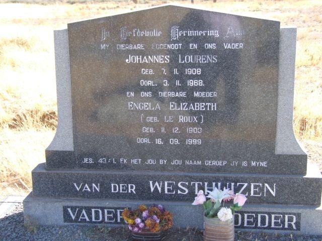 Van der Westhuizen, Johannes Lourens born 07 November 1908 died 03 November 1968 + Engela