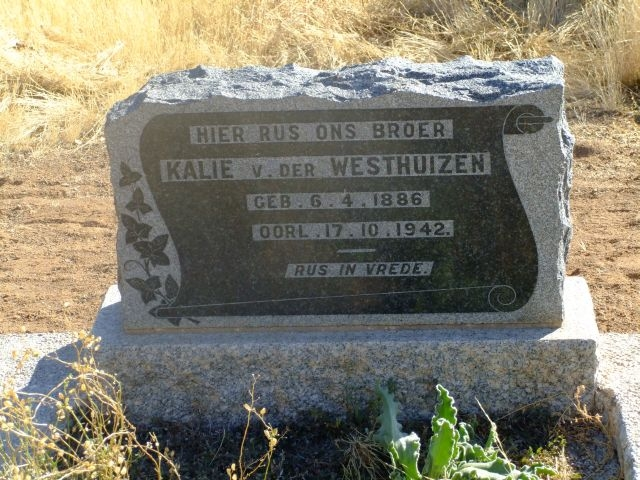 Van der Westhuizen, Kalie born 06 April 1886 died 17 October 1942