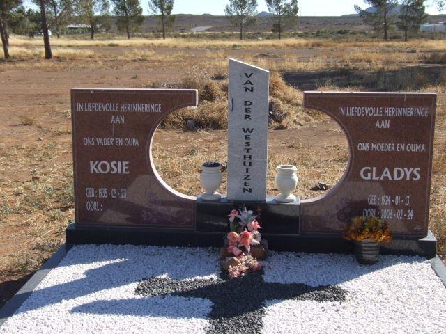 Van der Westhuizen, Kosie born 23 May 1935 + Gladys bonr 13 Janauary 1924 died 24 February 2006