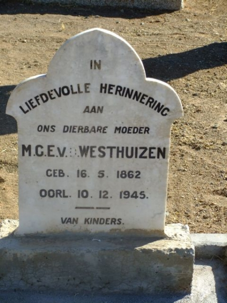 Van der Westhuizen, MGE born 16 May 1862 died 10 December 1945