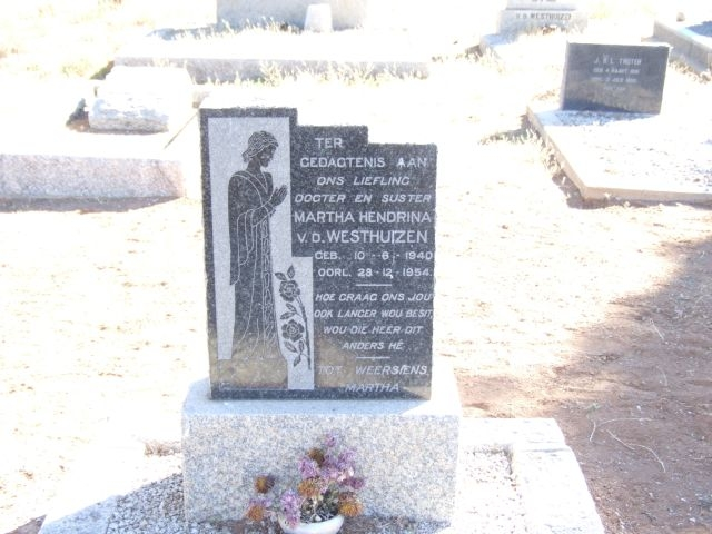 Van der Westhuizen, Martha Hendrina born 10 June 1940 died 28 December 1954