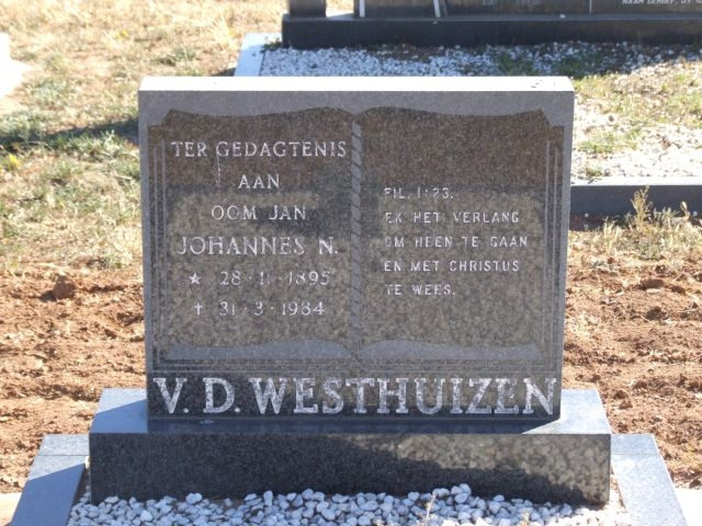 Van der Westhuizen, Oom Jan Johannes born 28 November 1895 died 31 March 1984
