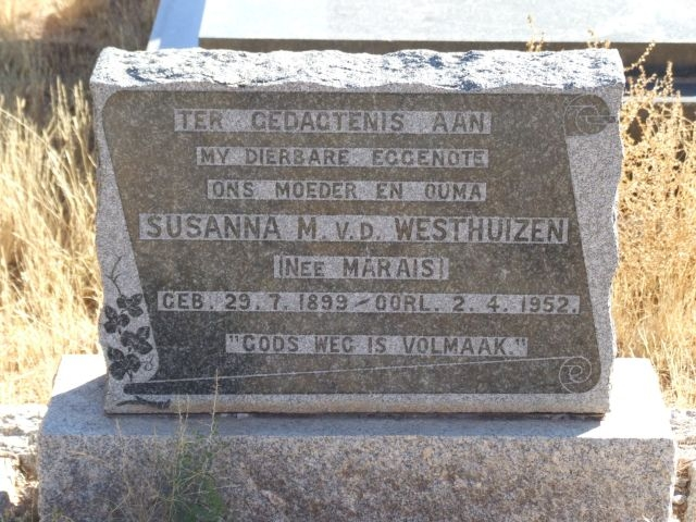 Van der Westhuizen, Susanna M nee Marais born 29 July 1899 died 02 April 1952