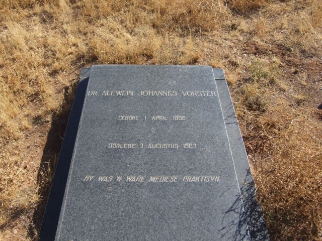 Vorster, Dr Alewijn Johannes born 01 April 1892 died 07 August 1967
