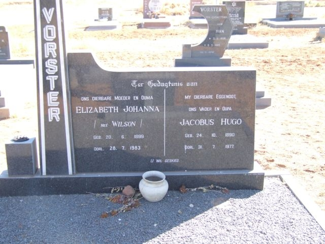 Vorster, Elizabeth Johanna nee Wilson born 20 July 1899 died 28 July 1983 + Jacobus Hugo born 24 October 1890 died 31 July 1977