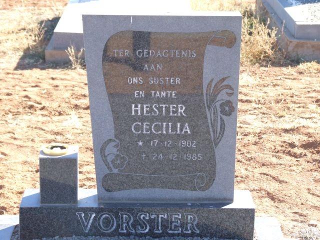 Vorster, Hester Cecilia born 17 December 1902 died 24 December 1985