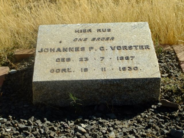 Vorster, Johannes PG born 23 July 1887 died 19 November 1930