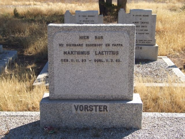 Vorster, Marthinus Laetitius born 11 November 1893 died 11 March 1962