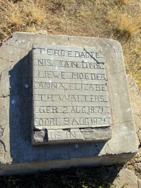 Walters, Anna Elizabeth born 02 August 1871 died 09 August 1921