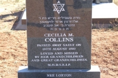 Collins, Ceiclia M died 19 August 1992 - Jewish grave