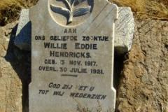 Hendricks, Willie Eddie born 13 November 1917 died 30 July 1921