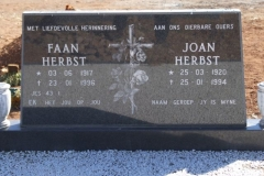 Herbst, Faan born 03 June 1917 died 23 January 1996 + Joan born 25 March 1920 died 25 January 1994