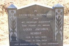 Herbst, Louis Jacobus born 09 August 1920 died 08 January 1959