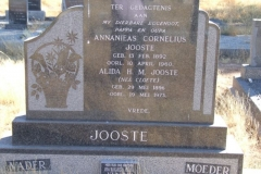 Jooste, Annanieas Cornelius born 13 February 1892 died 10 April 1960 + Alida HM nee Cloete born 29 May 1896 died 19 May 1973