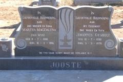 Jooste, Martha Magdalena nee Van Wyk born 09 July 1906 died 16 March 1994 + Johannes Gysbert born 16 July 1890 died 05 September 1975