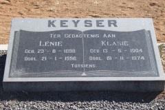 Keyser, Lenie born 23 July 1898 died 21 January 1996 + Klasie born 13 May 1904 died 19 November 1974