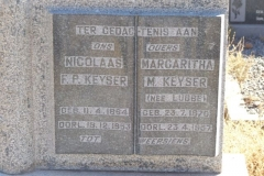 Keyser, Nicolaas FP born 11 April 1864 died 19 December 1953 + Margaritha M nee Lubbe born 23 July 1870 died 23 April 1957