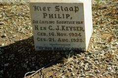 Keyser, Philip seun van N + C born 16 November 1924 died 21 August 1925