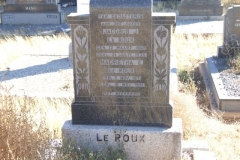 Le Roux, Jacobus born 12 March 1869 died 31 July 1930 + Magrietha born 07 November 1871 died 18 November 1951