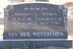 Van der Westhuizen, Gerhardus born 22 January 1888 died 18 April 1974 + Elizabeth nee De Vries 21 March 1901 died 31 March 1974