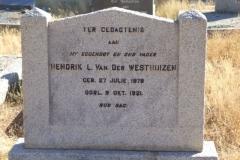 Van der Westhuizen, L van der Westhuizen born 27 July 1878 died 09 October 1921