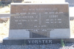Vorster, Margaretha born Le Roux 03 February 1913 + Lubbe born 24 May 1909 died 14 October 1981