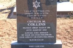 Collins, Ceiclia M died 19 August 1992 - Jewish grave