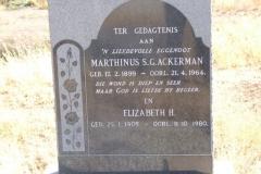 Ackerman, Marthinus SG born 17 February 1899 died 21 April 1964 + Elizabeth born 25 January 1905 died 11 October 1980