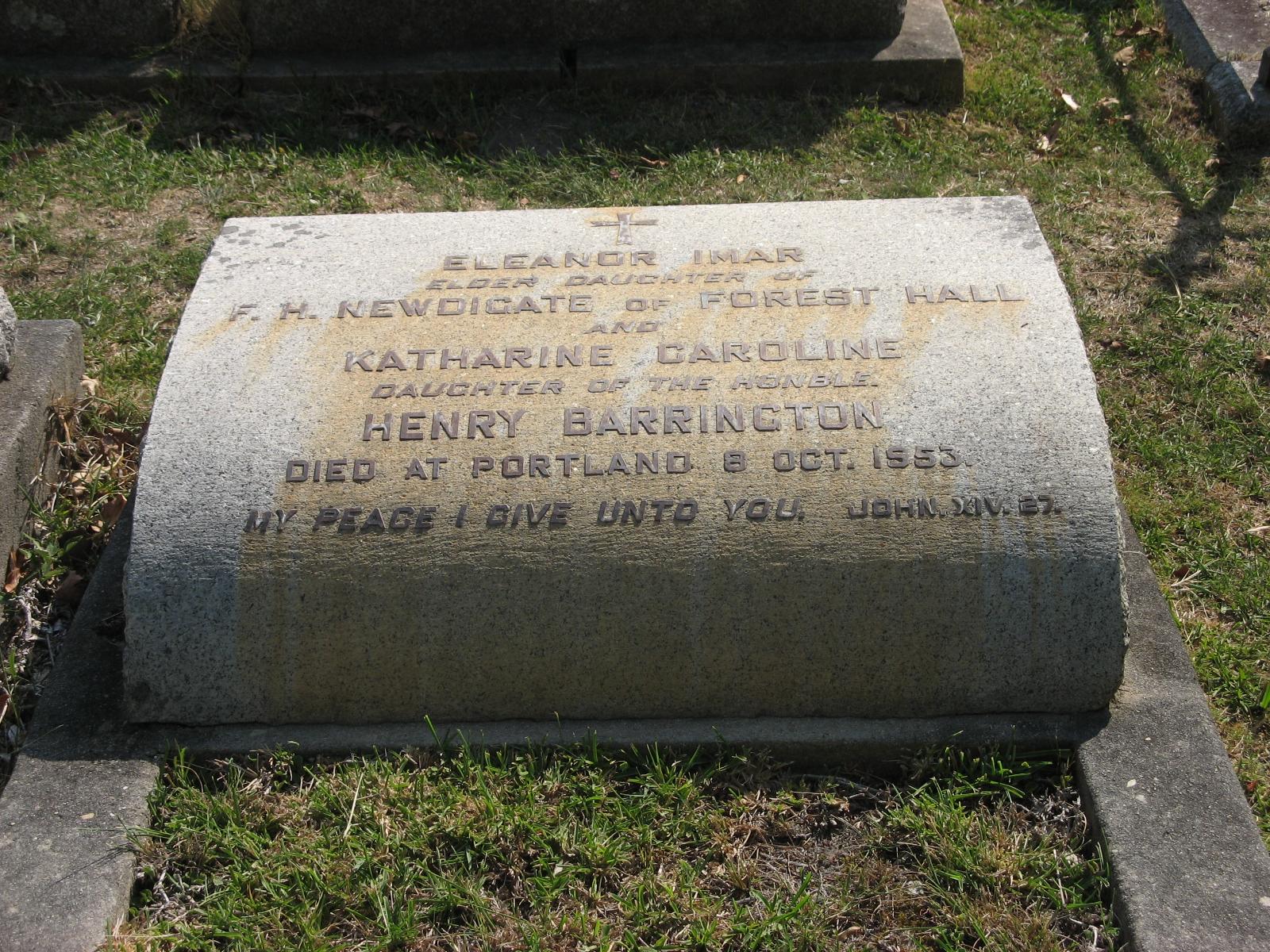 Newdigate, Eleanor Imar + Barrington, Katherine Caroline