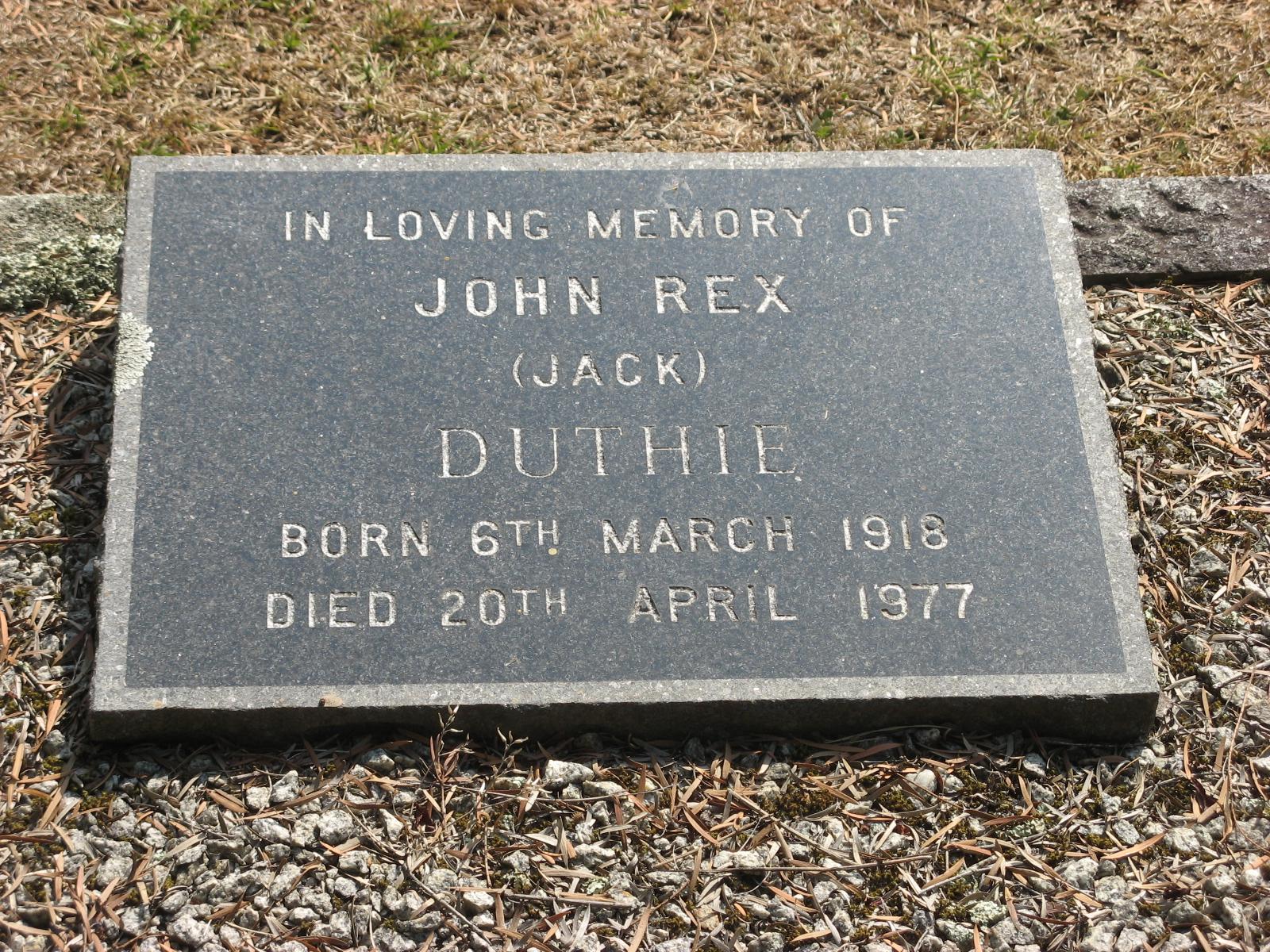 Duthie, John Rex (Jack)