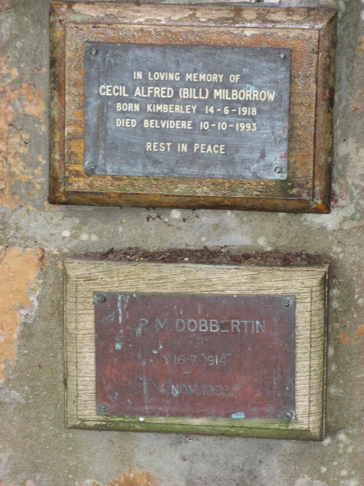 Millborrow, Cecil Alfred (Bill) + Dobbertin, A. P. M.