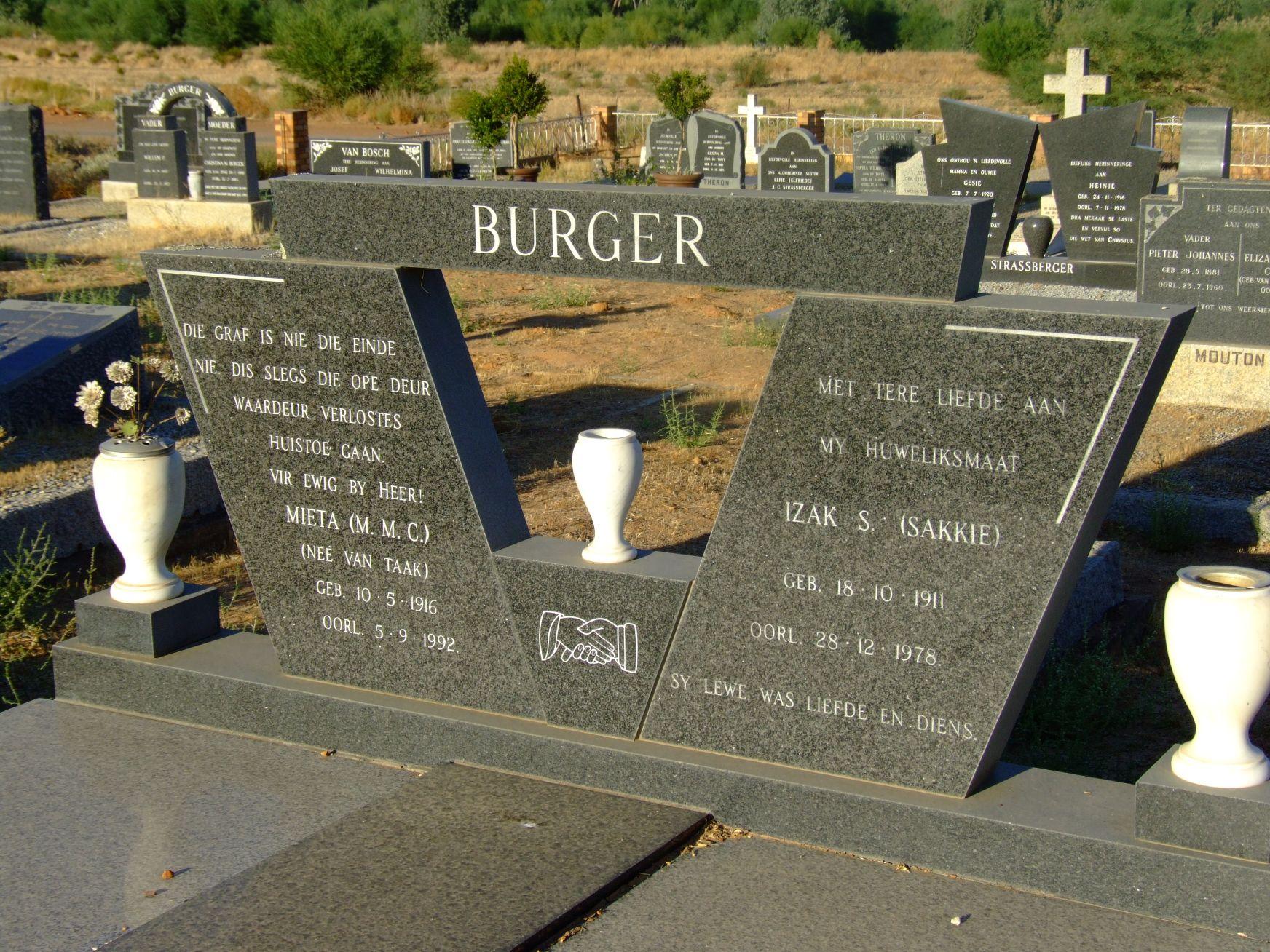 Burger, Mieta (M. M. C.) (nee van Taak) and Burger, Izak S. (Sak