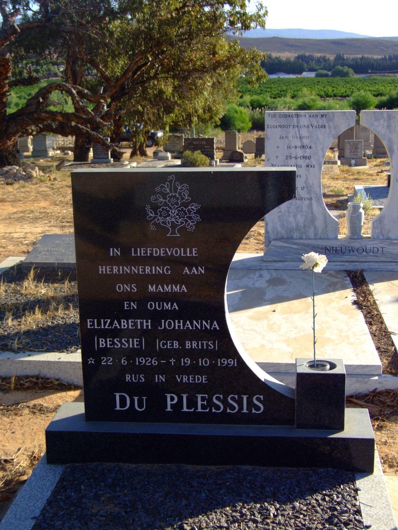 Du Plessis, Elizabeth Johanna (nee Brits)