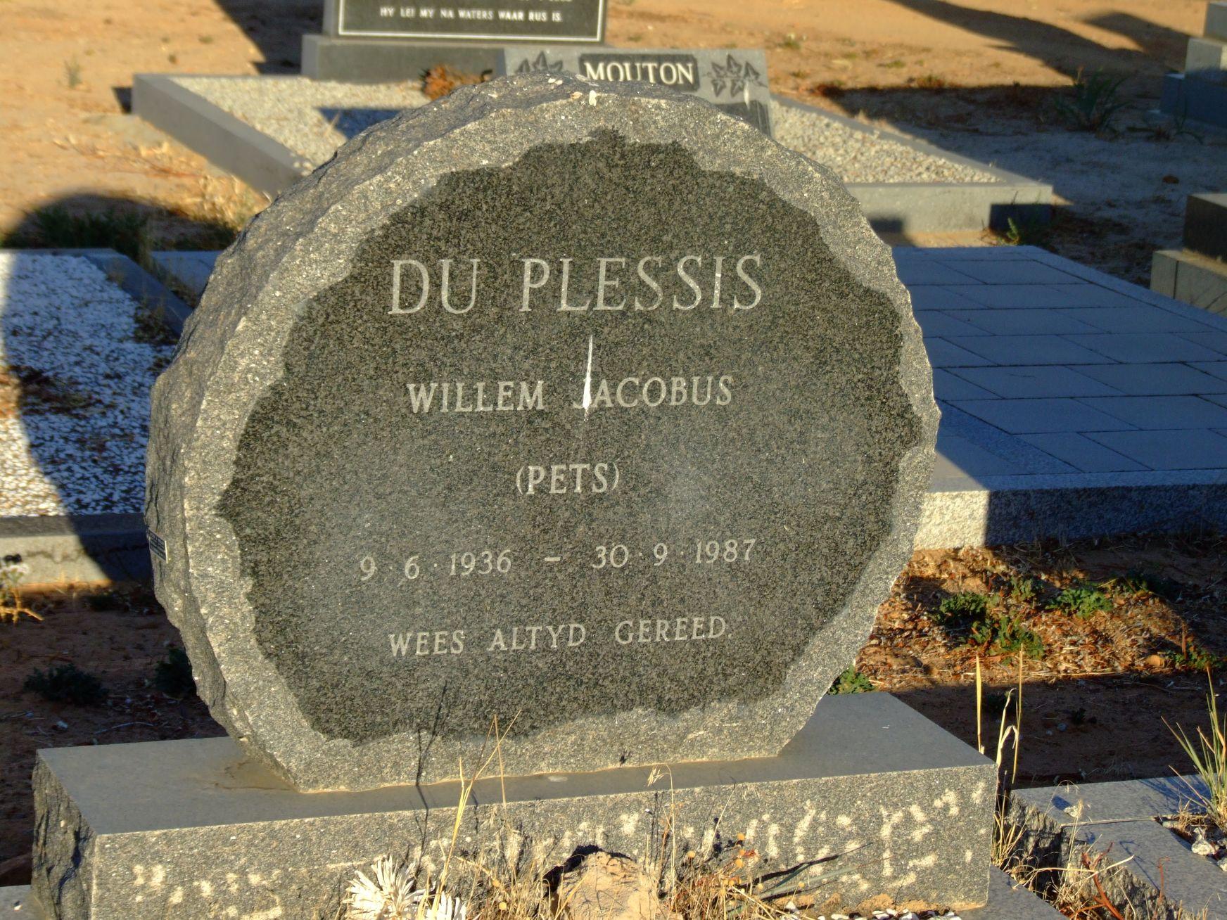 Du Plessis,Willem Jacobus(Pets)