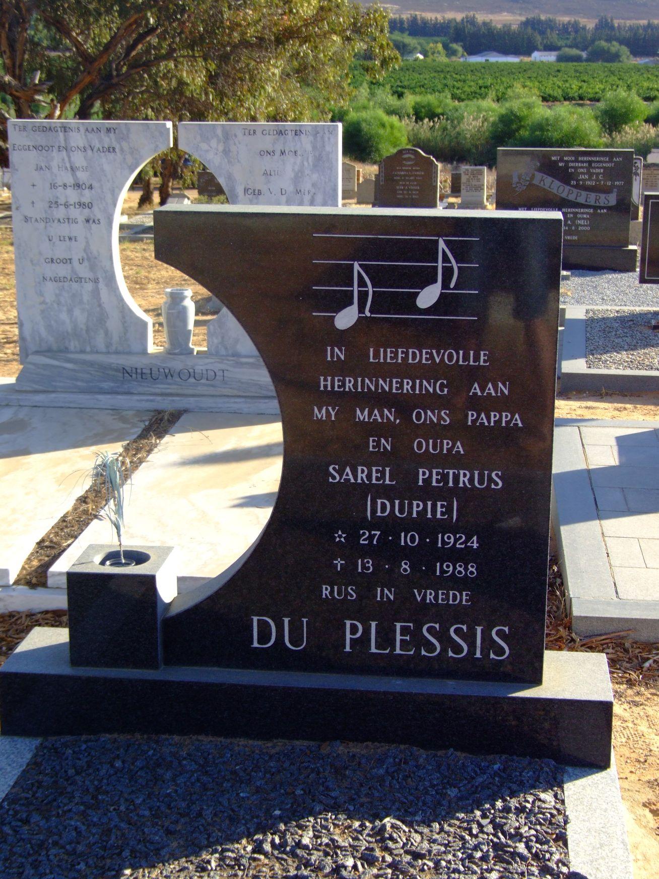 Du Plessis, Sarel Petrus( Dupie)
