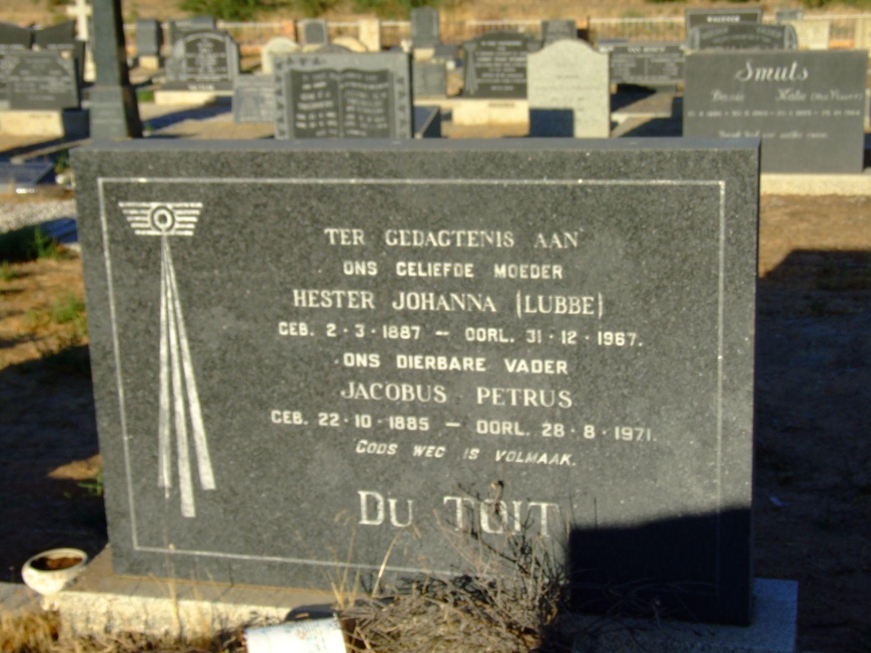Du Toit, Jacobus Petrus & Hester Johanna(Lubbe)