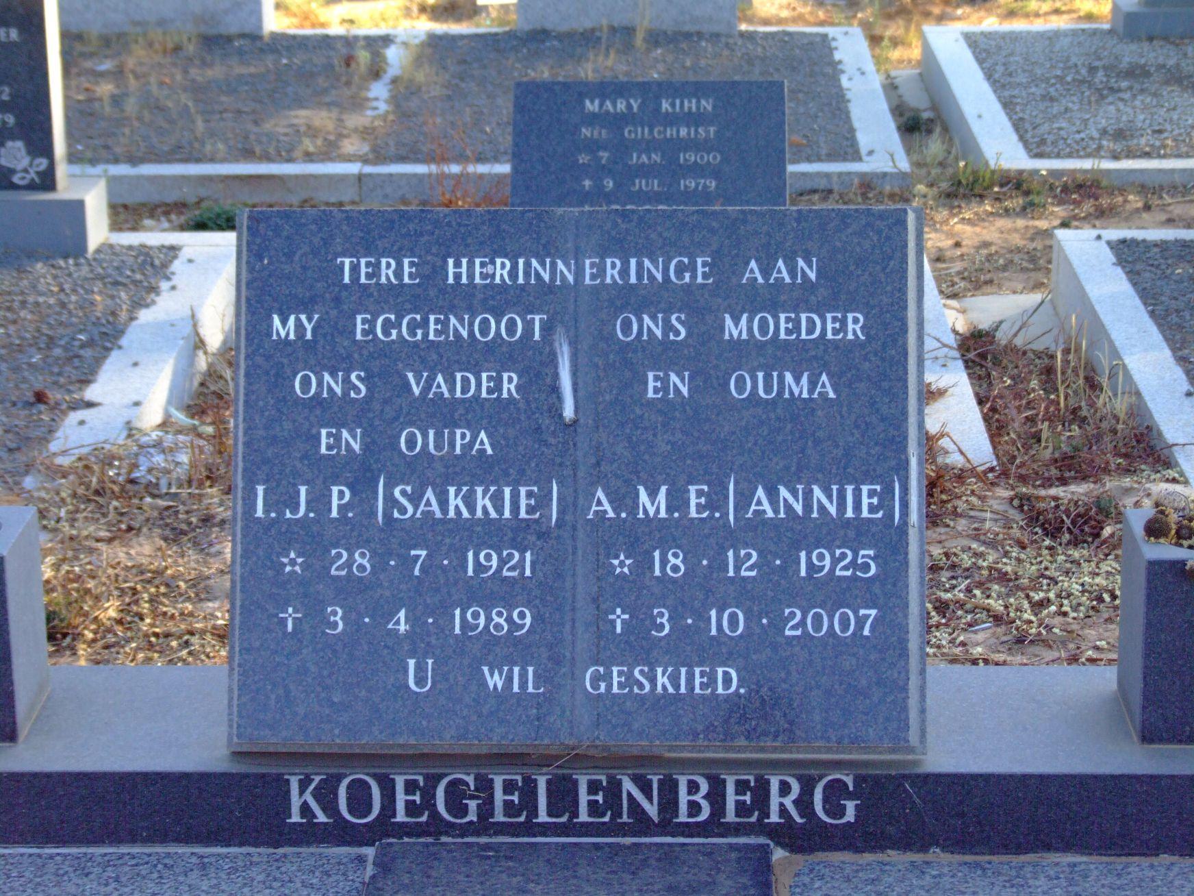 Koegelenberg, I. J. P. + Koegelenberg, A. M. E.
