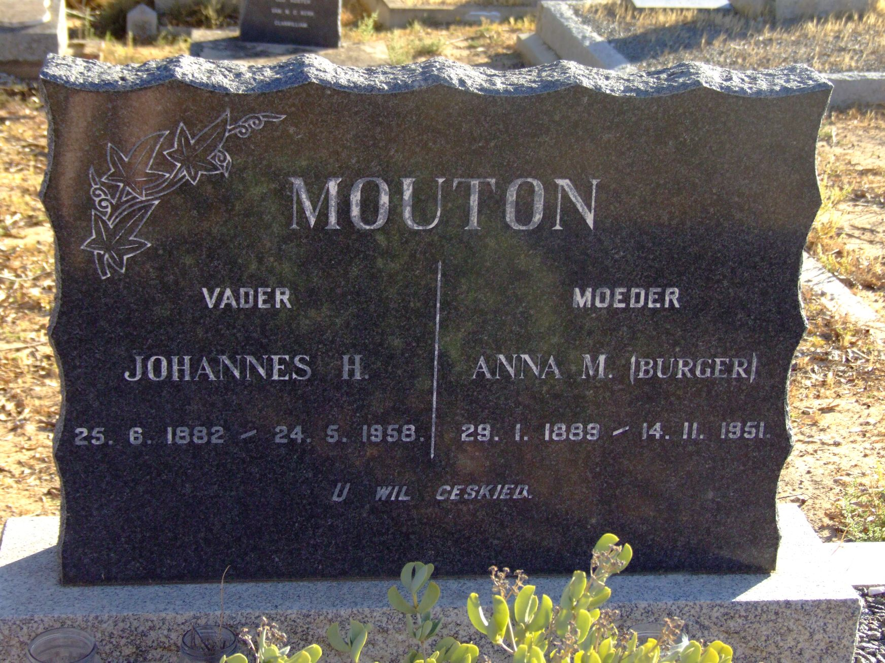Mouton, Johannes H. and Mouton, Anna M. (nee Burger)